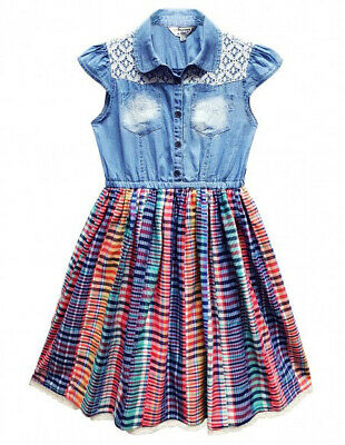 Girls Summer Cotton Dress Kids New Denim Top Check Skirt Ages 3-11 Years