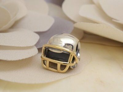 NEW Authentic PANDORA Silver 14k Gold FOOTBALL HELMET Charm 790570 RETIRED