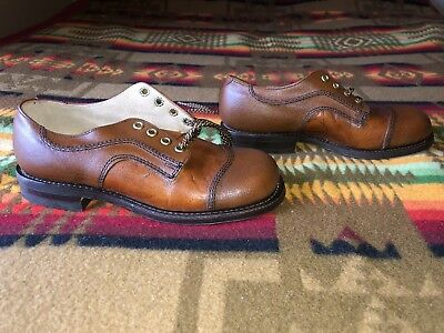baby toddler 1.5 vintage Childs Life brown leather captoe oxfords dress shoes