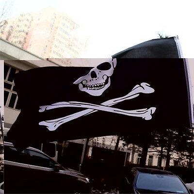 Skull And Crossbones Pirate Flag Jolly Roger Hanging With Grommets 5x3""
