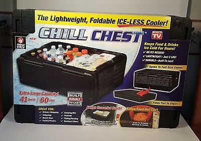 Chill Chest Collapsible Cooler 41 qt Lightweight and Foldable Iceless Tailgating