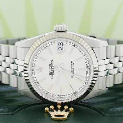 Rolex 18k/SS 31mm Index Dial White Gold fluted bezel Automatic Jubilee 68274