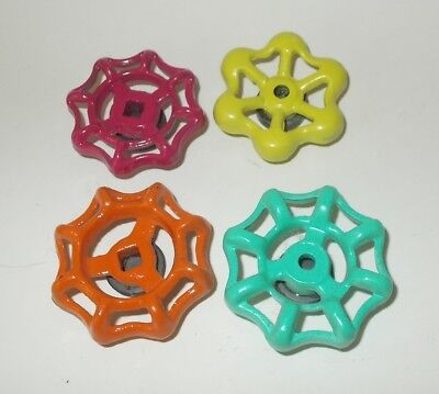 4 Vintage Faucet Hose Bib Handle/Knobs-Refrigerator Magnets-Bright Colors-Set #4