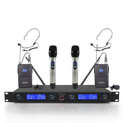 Pro Audio UHF Wireless Microphone System 4 Channel 2 Handheld 2 Bodypack headset