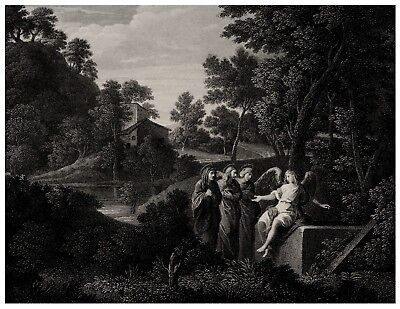 An Antique 19th Century British Engraving, The Tomb Of Our Savior After Mola