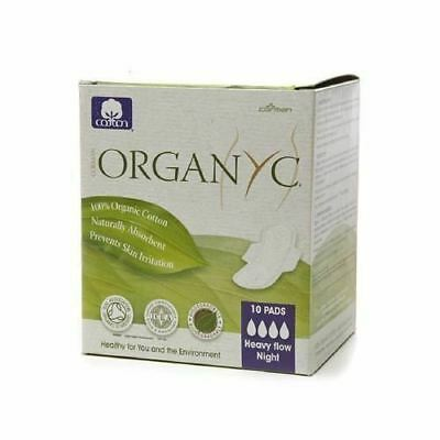 Organyc Cotton Pads Heavy Flow Night - 10 Pads.