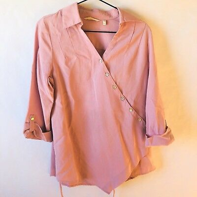 0d8a4503359 SOFT SURROUNDINGS Washed Tencel Asymmetric Button Down Tunic Blush Pink PXS