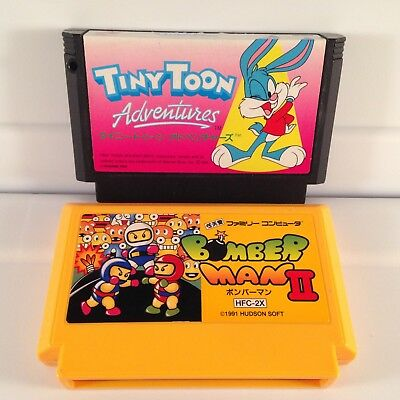 TINY TOON ADVENTURES+BOMBERMAN II 2 Japan Famicom FC Nintendo NES Carts set