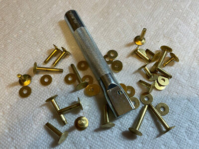 "#9 SETTER & 1 Dozen Size 9 Solid BRASS Rivets & Burrs / Washers 3/4"" Long"