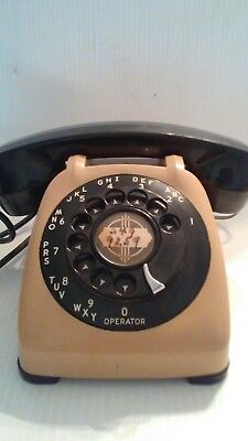 Vintage Automatic Electric MONOPHONE Beige & Black Rotary Dial Desk Phone