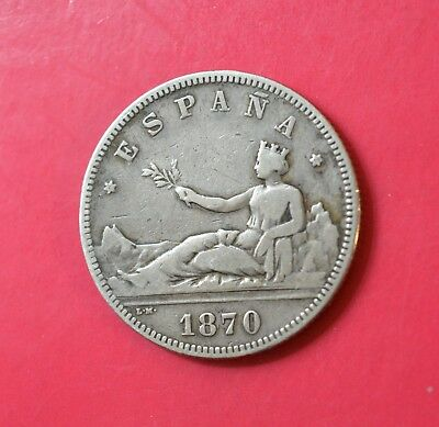 SPAIN - 2 PESETAS, 1870(70) SN-M, Provisional Government, Silver coin   [M#13]