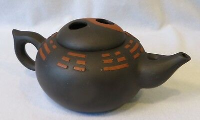 Vintage Antique CHINESE YIXING CARVED CLAY TEAPOT DECO