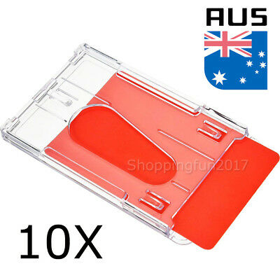10 x Clear Vertical Hard Plastic Business ID Card Badge Holder Double-sided AU