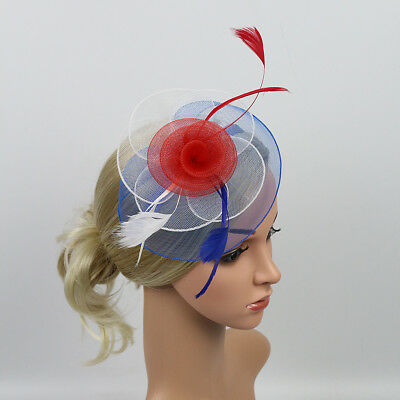 Ladies Flower Mesh Red White Blue Fascinator Hat Alice Band Race Royal Ascot