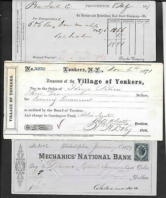 1800s Lot of five checks 1853 1871 1877 1890 1898 signed N.Y.  Holiday Special