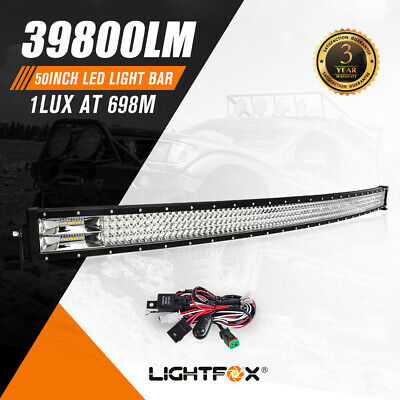 50inch Curved Cree LED Light Bar Spot Flood Combo Driving Offroad 4WD Truck SUV