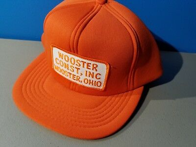 4a2035be50d Vintage 80s Wooster Construction Inc. Snapback Trucker Hat Cap Ohio