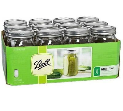 12 Pack Ball Mason Canning Jars Clear Quart Lids Bands Wide Mouth Glasses 32 Oz