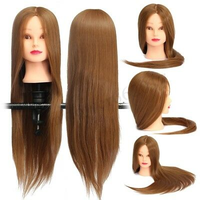 26'' Human Head Mannequin Long Hair Hairdressing Practice Training Salon Doll
