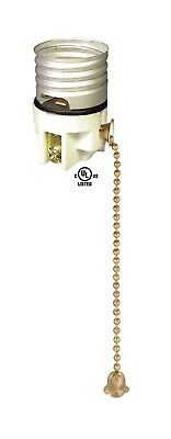 PORCELAIN ~ Antique Brass PULL CHAIN ~ E26 LAMP LIGHT SOCKET ~ Interior ~ #GB107