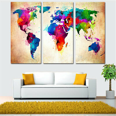 Frameless Huge Wall Art Oil Painting On Canvas Colorful World Map Home Decor HO