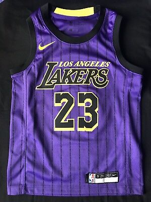 a4a2f2b4a180a Los Angeles Lakers Lebron James Youth Swingman City Edition Jersey Size  Small