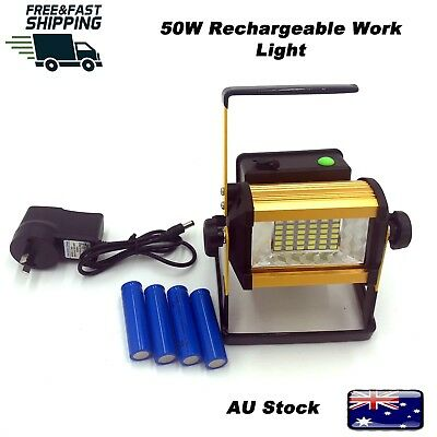 50W LED Rechargeable Work Spot Flood Light Portable Camping Fishing Outdoor Lamp