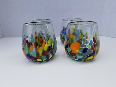 Stemless Wine Glasses Confetti Hand Blown Set Of 4  **promotional Discount**