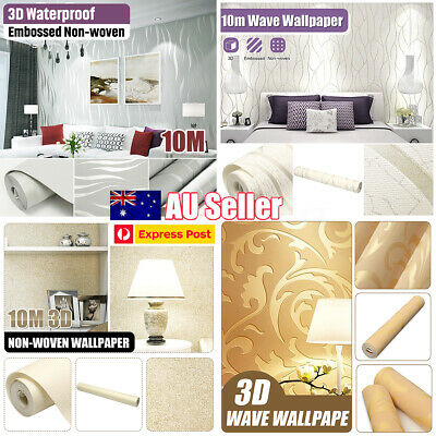 10M 53cm Wall Paper Roll Embossed Feature 3D Textured Modern Style Wallpaper AU