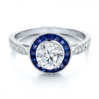 Art Deco Style Blue Sapphire Halo and Diamond  925 Silver Engagement Ring Solid