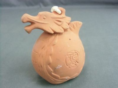 Japanese Clay Bell Dorei Zodiac Dragon Ceramic Vtg Hand Made Pottery Brown DR83