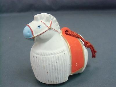 Japanese Zodiac Horse Clay Bell Dorei Vtg Hand Made Pottery Ceramic White DR64