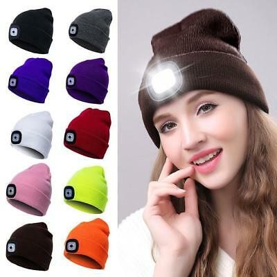 Unisex Cable Knitted Hat Plain Beanie Very Warm Knitted Hat With Led Light