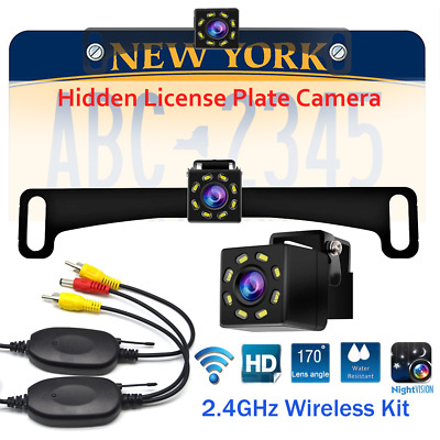 Wireless Car License Plate Hidden Rear View Reversing Backup Camera For Parking