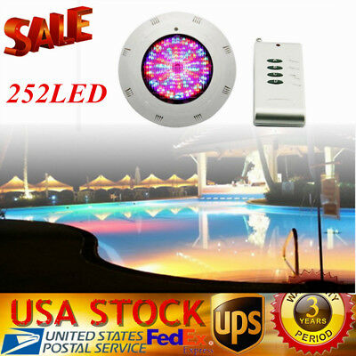 RGB Underwater Swimming Pool Light 18W 252LEDs Lamp 12V + Remote Control IP68