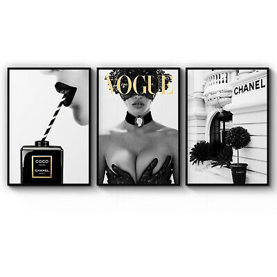 Set of 3 COCO CHANEL Photography Fashion Wall Art Poster Print A3 A2 A1 Framed