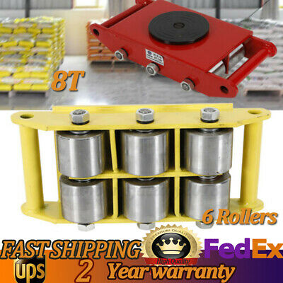 8T Heavy Duty Machinery Mover 17600lbs  Dolly Skate Red Yellow w/ 6 Steel Wheel