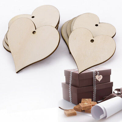 100pc Wood Wooden Heart Shapes Embellishments Craft with Hole Hanging Tags Blank