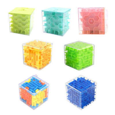 3D Puzzle Game Money Maze Bank Saving Coin Collectibles Box Kids Gift Toy Clear