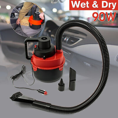 12V Portable Wet & Dry Mini Vacuum Cleaner Carpet Car Boat Air Inflating Pump