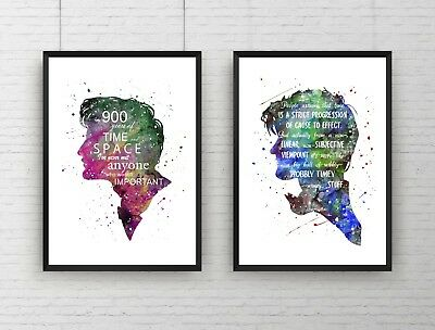 """Set of 2 - Dr Who TV Show Quote """"The Doctor's Head"""" Wall Art Poster Print Framed"""