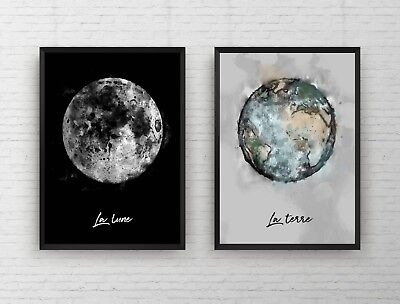 Set of 2 - Earth & Moon Space Watercolour Painting Wall Art Poster Print Framed