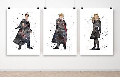 Set of 3 Harry Potter Ron & Hermione Wall Art Poster Print - A3 A2 A1 Framed