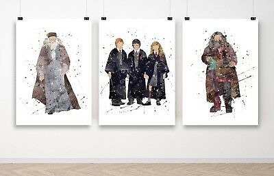 Set of 3 Harry Potter Dumbledore Hagrid Wall Art Poster Print - A3 A2 A1 Framed