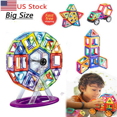 100 Pcs Large Magnetic Tiles magnetic Building Blocks Toys Kids New Year Gift
