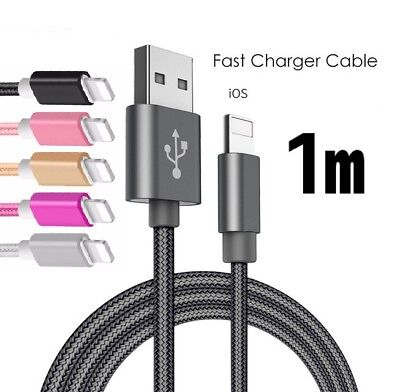 Apple iPhone Charging Cable USB Charger Nylon Cord 1M X XS 8 7 6 5s iPad
