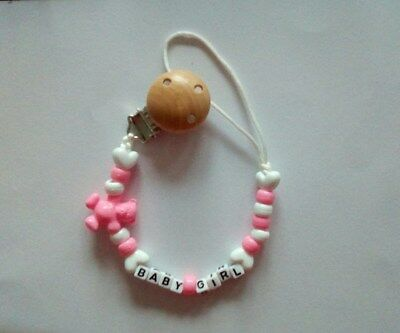 Personalised Baby Pink Wooden Dummy Clip Pacifier Chain Holder