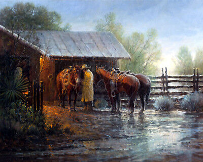 Western cowboy in the rain Oil Painting Giclee Art Printed on canvas L2022