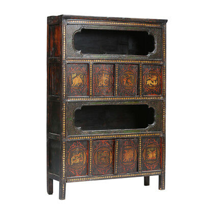 Large Vintage Painted Cabinet from Tibet