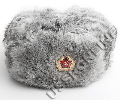Russian Authentic Grey Rabbit Ushanka Fur Hat Warm Mens Gift +Badge Cossack Army